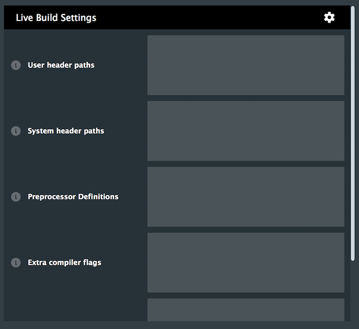 Live build engine settings window