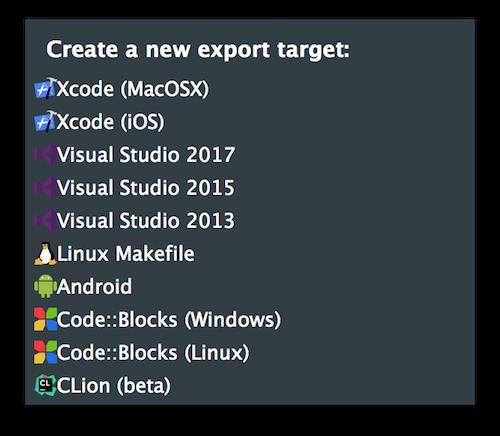 Exporters popup menu