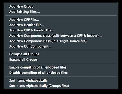 File explorer popup menu
