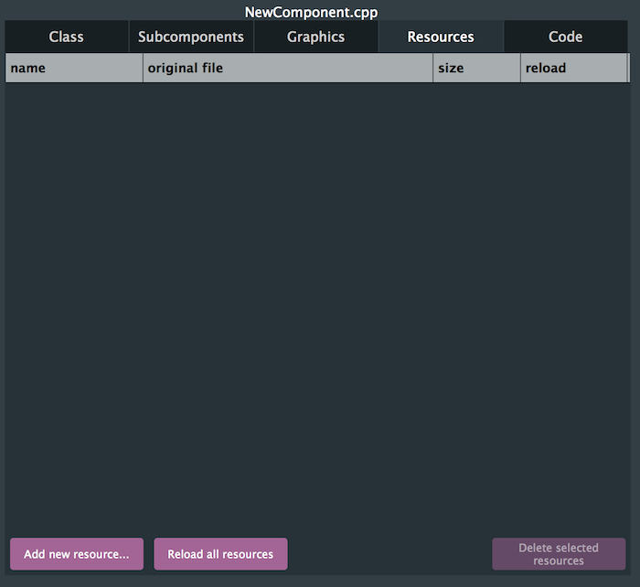 GUI editor resources tab