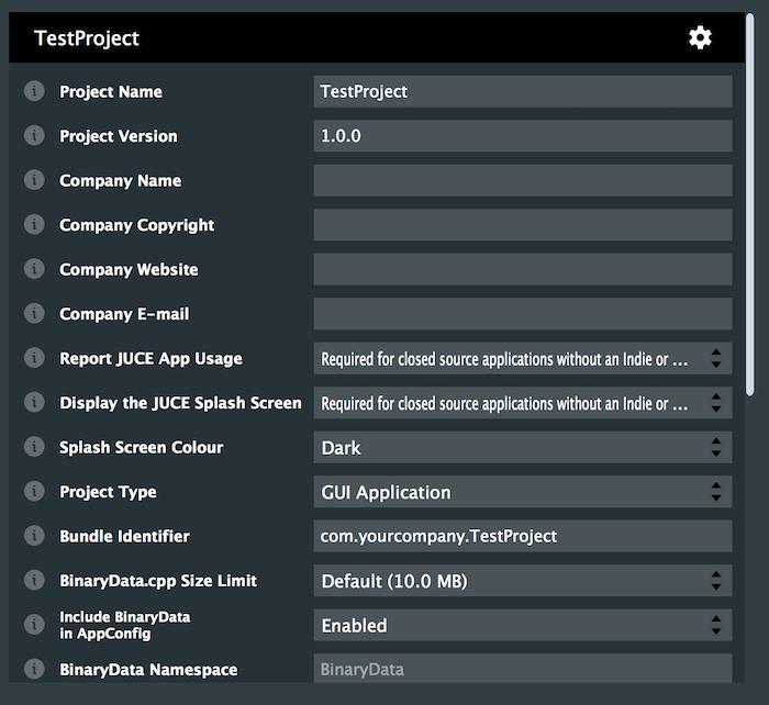 Project settings window