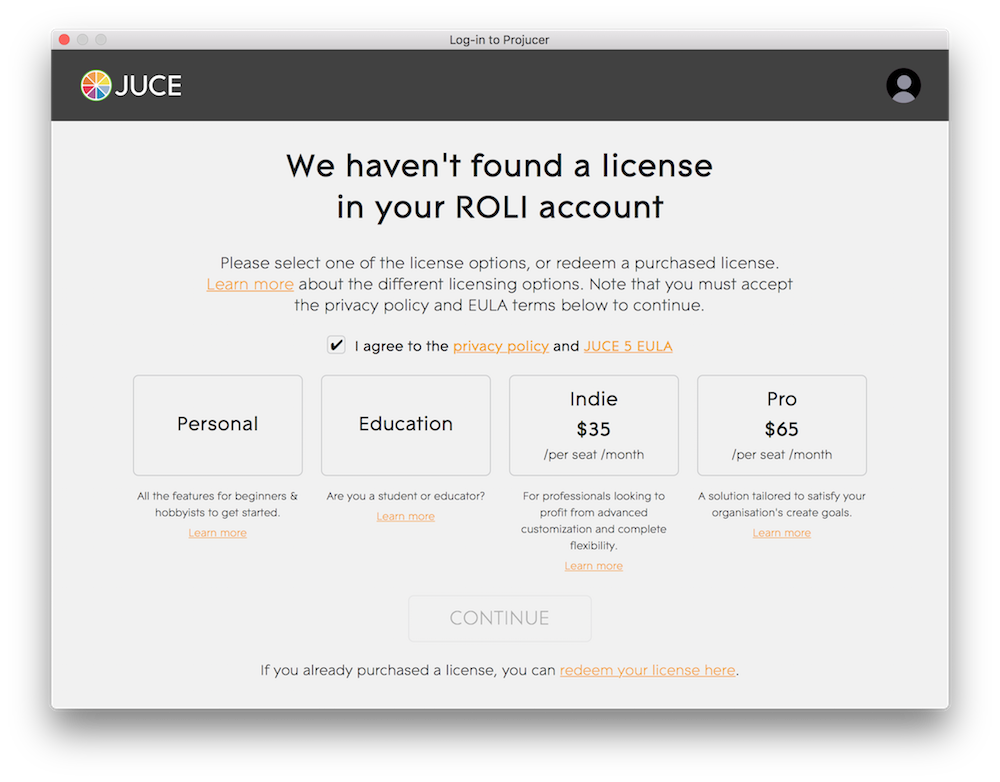 Purchasing a JUCE license